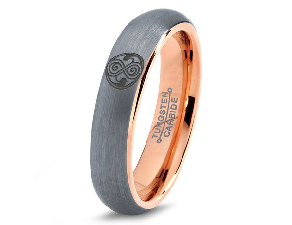 dr who gallifrey tungsten wedding band ring mens womens domed brushed rose gold fanatic geek anniversary - Doctor Who Wedding Ring