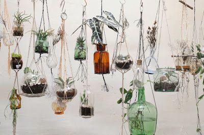 """Macramé """"Bottled Gardens"""" by EARTH.ROPE.POT.PLANT @ Atelier Solarshop - Antwerp www.ateliersolarshop.be"""