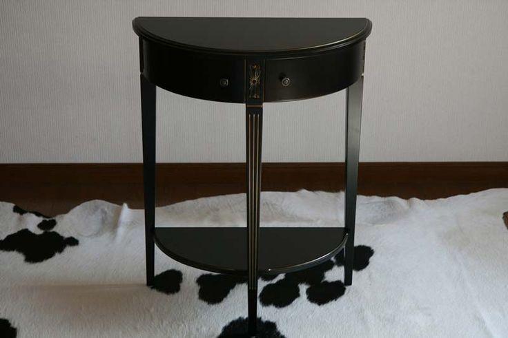 送料無料■新品■ブラックロココ コンソールテーブル サイドテーブル 花台■F6127BG ブラック