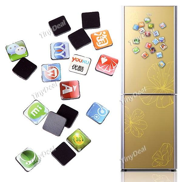 Mobile Phone App Icon Style Fridge Magnet Stickers Set