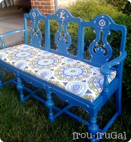 mix 3 unwanted dining room chairs, 1 snazzy seat cushion, and a lovely shade of blue paint. Result - one seriously cool bench