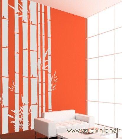 Adhesivo decorativo en vinilo, modelo bambú. ideal para dar un toque natural en decoraciones modernas. http://www.visualvinilo.net/vinilos-decorativos/vinilos-decorativos-etnico/