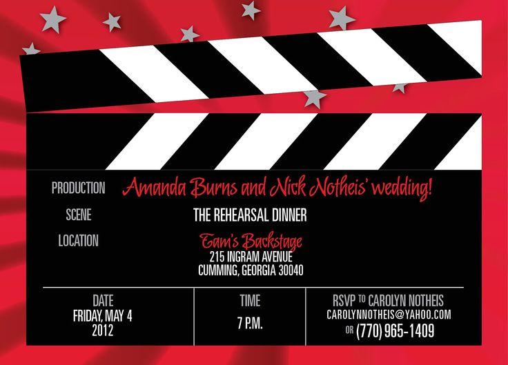 Hollywood Movie clapboard wedding, rehearsal dinner or ...