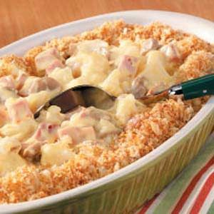 Cauliflower Ham Casserole. SO YUMMY! We had a lot of leftover honeybaked ham, and this was just what I wanted! I added peas, used greek yogurt instead of sour cream and arrowroot instead of flour. But this was delicious!