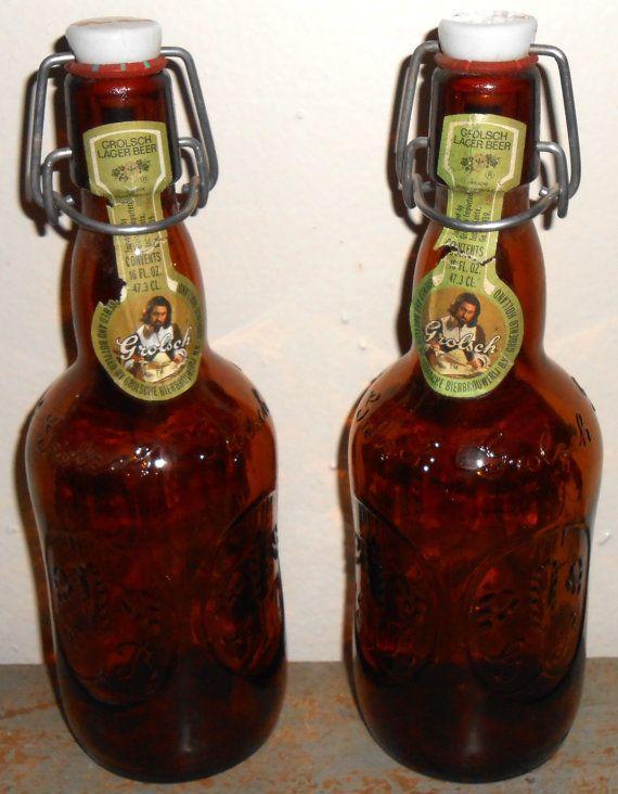 Vintage Beer Bottle Grolsch Beer Amber Glass Brown by TheBackShak