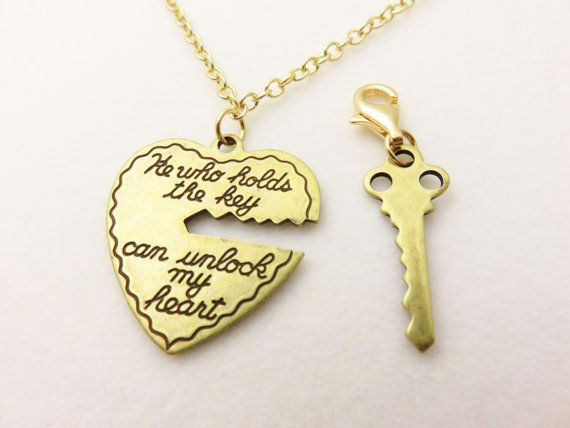 Heart & Key Necklace Set - His and Hers Necklace, Gold Heart Necklace, Heart Necklace, Anniversary Gift, Valentines Day Gift For Girlfriend  This gold heart and key necklace set contains an engraved gold heart necklace and matching key charm. The antiqued brass heart hangs from a gold