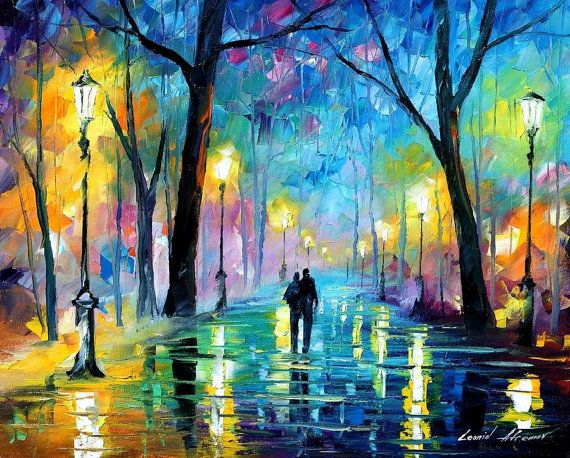Wall Art For Bedroom Blue Painting On Canvas By Afremov – Fog In The Park 2