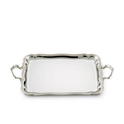 Vassoio rettangolare con manici barocco in argento in confezione regalo. Argento 800, dimensione 48 x 38 cm, peso gr. 2163  Durante la fase di acquisto sarà possibile scrivere il biglietto d'auguri.