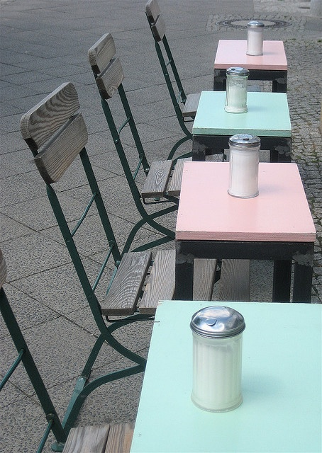 pink,aqua cafe tables BERLIN. This is so smart!! Except baby blue and pale yellow :)