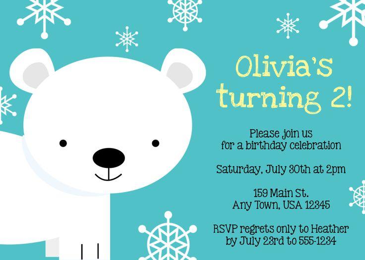 Printable Birthday Party Invitation - Polar Bear. $10.00, via Etsy.