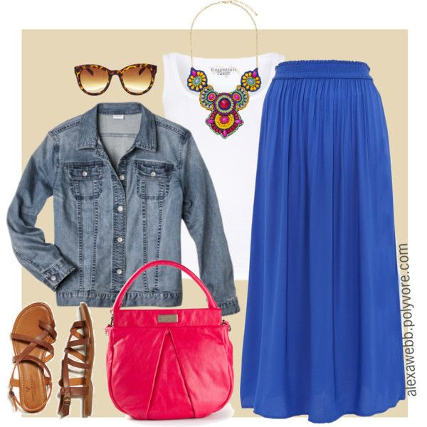 """#plus #size #outfit """"Plus Size - Bright Maxi Skirt"""" by alexawebb on Polyvore"""