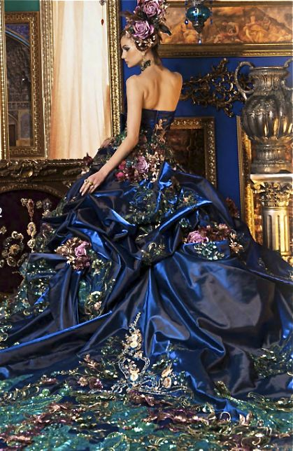 Stella de Libero, gown, couture, wedding, bridal, dress, fantasy, flowers, flower, floral, flora, fairytale, fashion, designer: