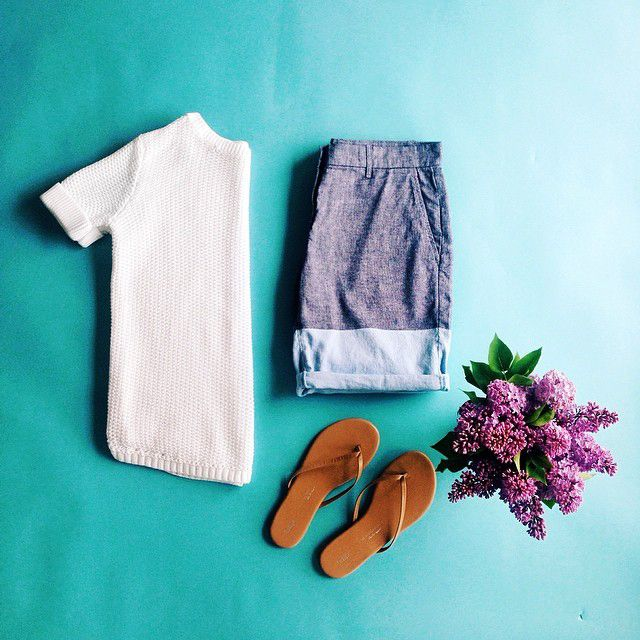 Lighten up in breezy whites. Add in colorblock chambray and flip flops for a fresh take on summer dressing. #summerloves