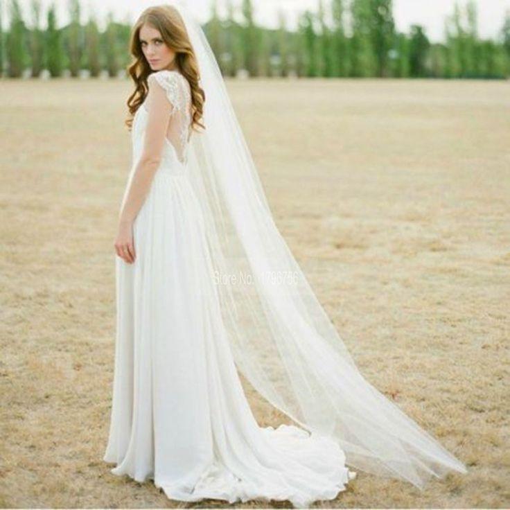 Neu Kommen 2 mt Schnittkante Kamm Weiße Lange Brautschleier Schnittkante Weiß Eine Schicht Günstige Kamm Lange Hochzeit schleier