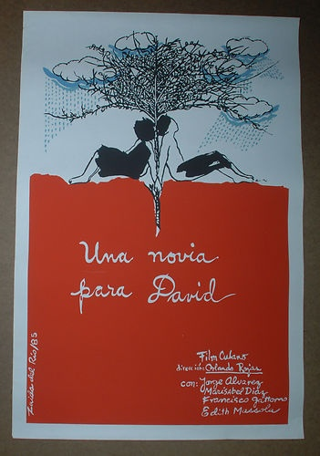 Cuban Silkscreen Movie POSTER.UNA NOVIA PARA DAVID.Zaida del Rio Fine art.Red.