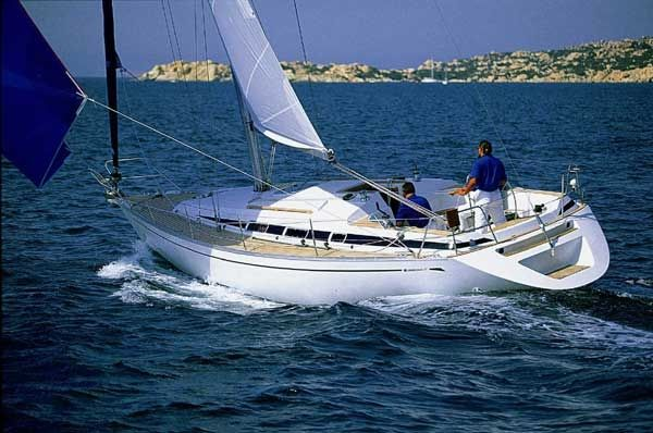 Grand Soleil 37 sailing yacht. 2 cabins and 4 + 6 berths. Available for charter in Greece.