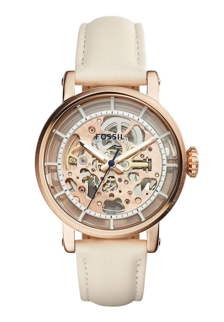 Target Group: Ladies, Drive: Automatic, Display: Analog, Material: Stainless steel, Band material: Leather, Band colour: Beige, Waterproof: 5 bar, Shape: Round, glass: Mineral crystal, Clasp: Buckle clasp, Digits: None, Dial Color: Rosé gold, housing color: Rosé gold