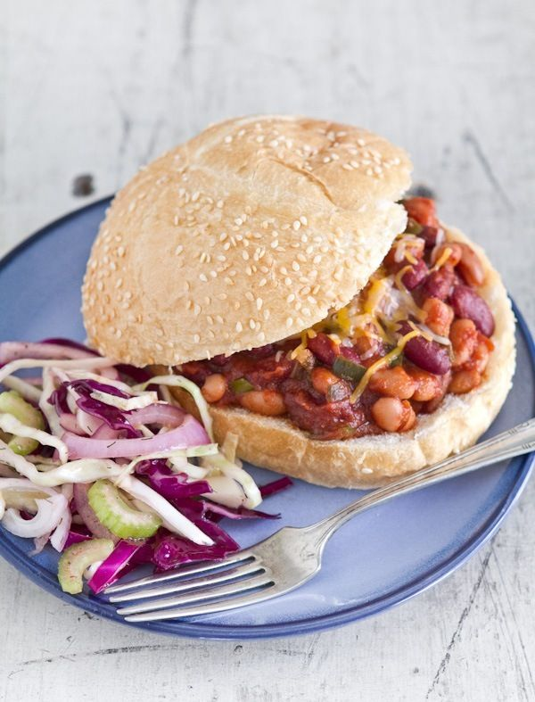 Two bean sloppy joes, uses beans instead of fake meat...which I like.  My husband Ryan made these for dinner and they were fabulous!  I also liked that they didn't call for gobs of ketchup, which for me usually ends in a stomach ache