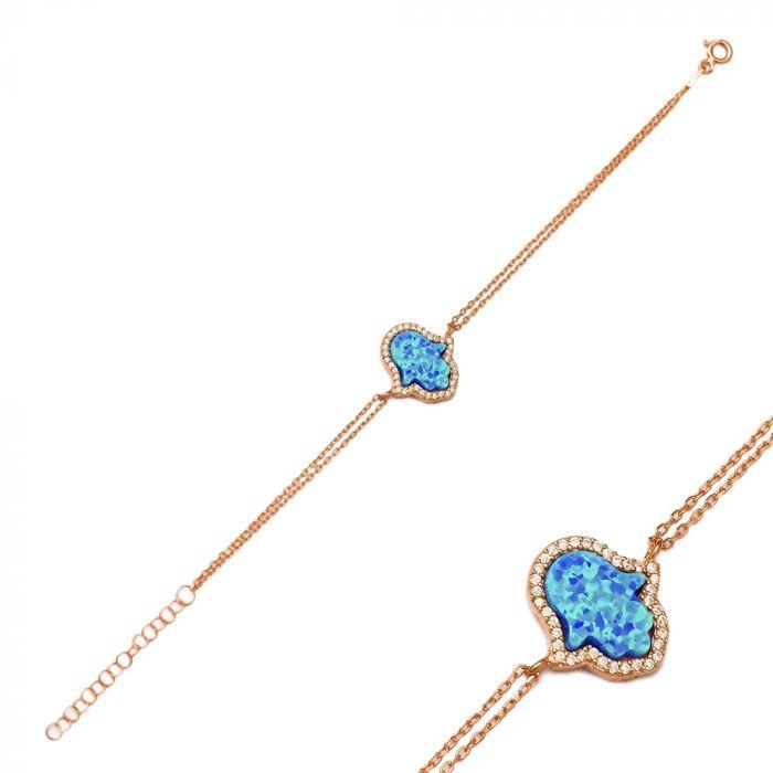 2017 Silver Hamsa Opal Stone Bracelet Custom Made Turkish Handmade Jewelry