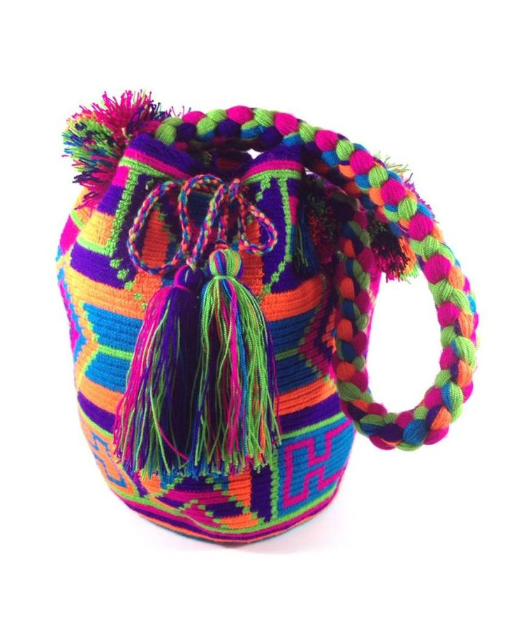 Authentic handmade Wayuu Mochila with braided strap. JAYEECHI SUNSET WAYUU BAG available at www.shopkokay.com #wayuubag #kokay