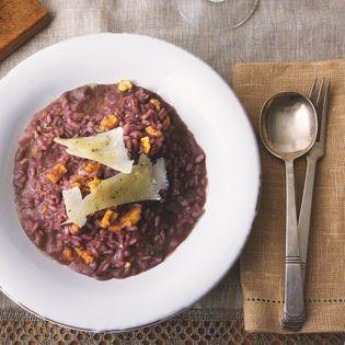 Rezept von Sophie Wright: Rotweinrisotto mit Gorgonzola & Orangen