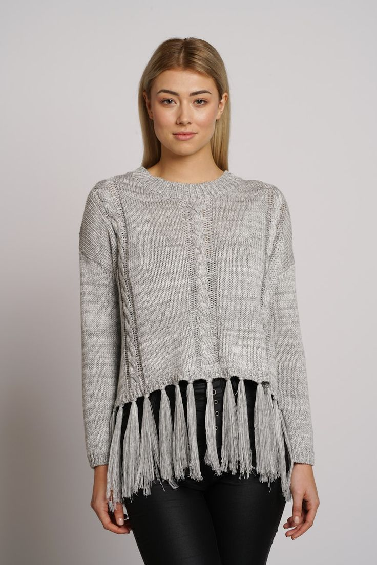 Winter Tassle Knit-GREY