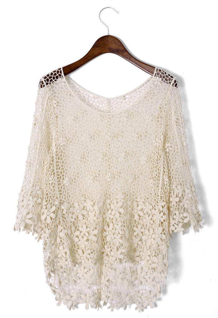 Crochet Mesh Mid-Sleeve Top - Retro, Indie and Unique Fashion