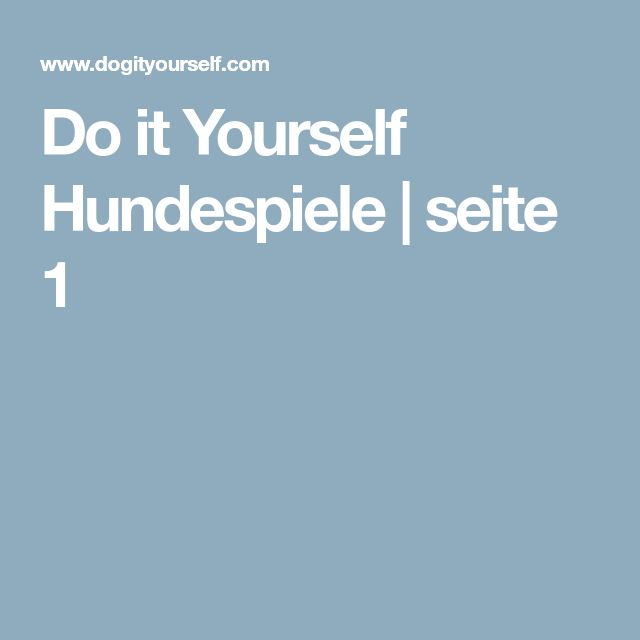 Do it Yourself Hundespiele | seite 1
