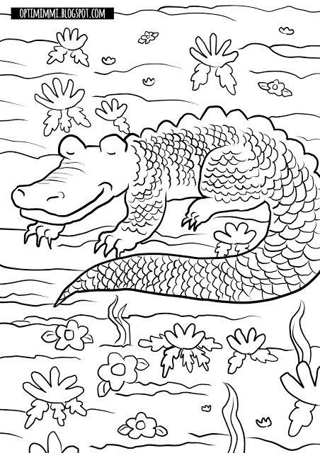 OPTIMIMMI | A free coloring page of a sleeping crocodile / Ilmainen värityskuva nukkuvasta krokotiilista