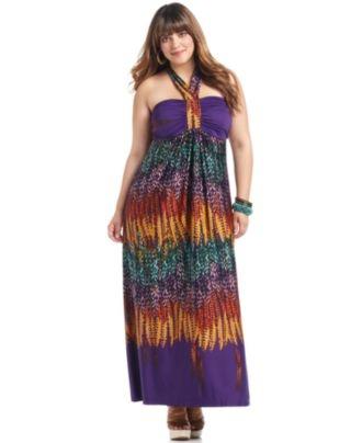 Love Squared Plus Size Dress, Halter Printed Maxi - Plus Size Dresses - Plus Sizes - Macy's