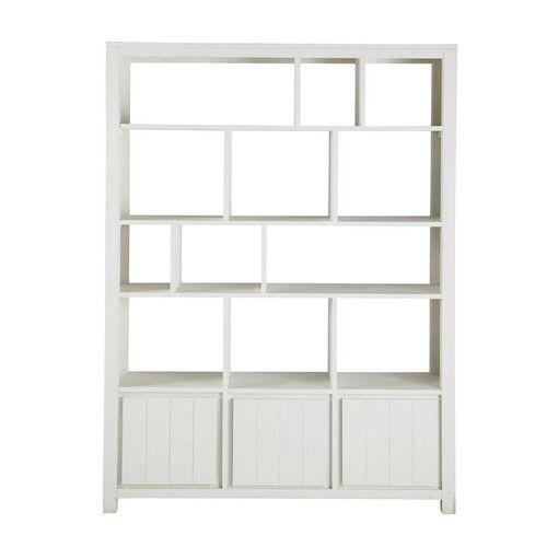 Bibliothèque en bois massif blanche L 150 cm
