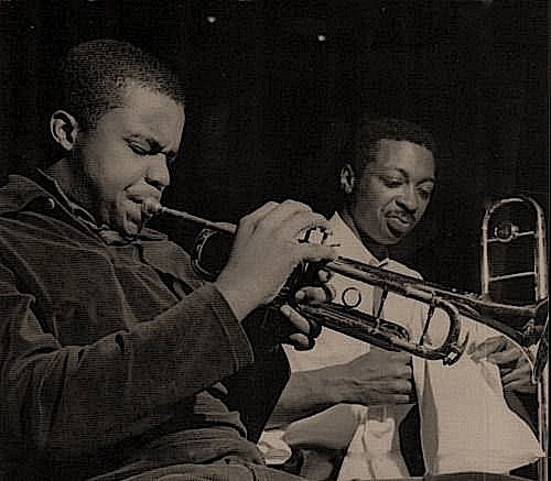 Freddie Hubbard and Curtis Fuller during Art Blakey & The Jazz Messengers' Free For All session, Englewood Cliffs NJ, February 10 1964 (photo by Francis Wolff)