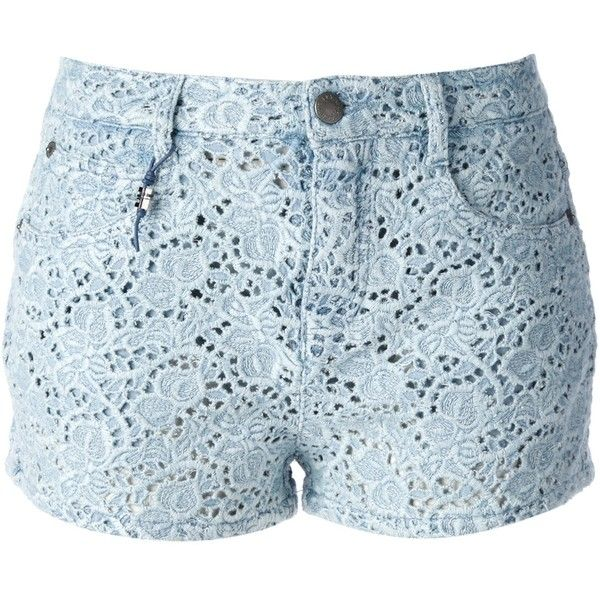 ERMANNO SCERVINO broderie anglaise denim shorts (15.165 CZK) found on Polyvore