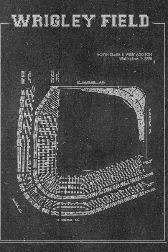 Vintage Wrigley Field Chicago Cubs Blueprint on Photo by