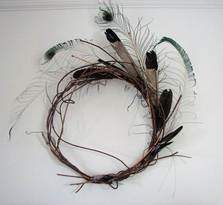 """"""" Birds of a Feather"""" 2D wall art created from wonga wonga vine, bamboo, peacock, black cockatoo and laurakeet feathers."""