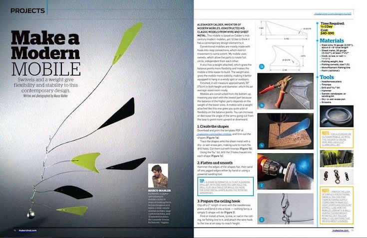 I wrote an article for the new issue of MAKE magazine that shows how to make a mobile based on Calder's mobiles: http://makezine.com/projects/make-40/calder-mobile/. PDF version: http://www.make-digital.com/make/volume_40?pg=72 or subscribe to the magazine, they have lots of other great projects in each issue!
