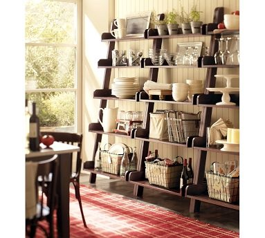 Ladder shelving along the back wall of my dining room might be a great way to dress up that big, blank space while also providing a place for dinnerware display and additional storage.