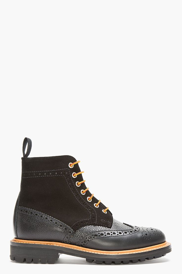 MARK MCNAIRY Black Leather & Suede Crazy C Brogue Boots