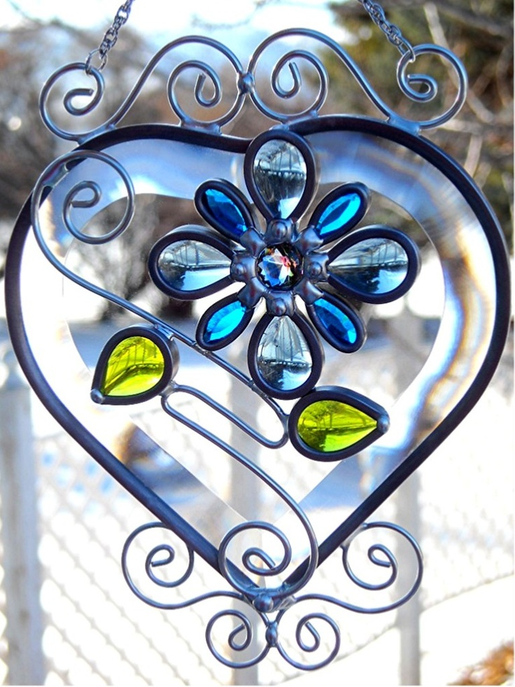 JasGlassArt - Original Designs in Stained Glass: Beveled Glass Heart Suncatcher with Glass Jewels