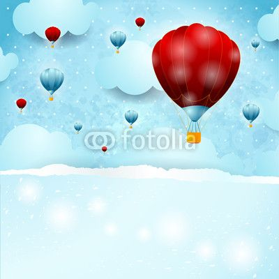 #Sky background with #balloons #vector #stockimage