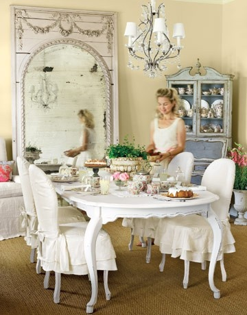 Vintage Love: Mirror, Kitchens Chairs, Dining Rooms Chairs, Shabby Chic, Dining Chairs, Slipcovers, Corner Cabinets, Slip Covers, Chairs Covers