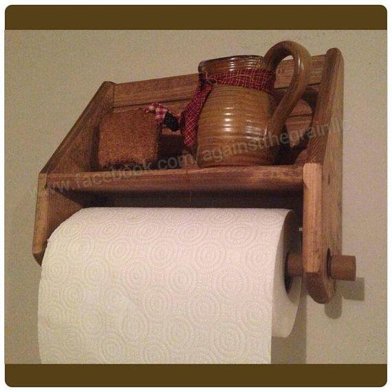 Handmade primitive wooden paper towel holder by AgainstTheGrainLLC, $34.00