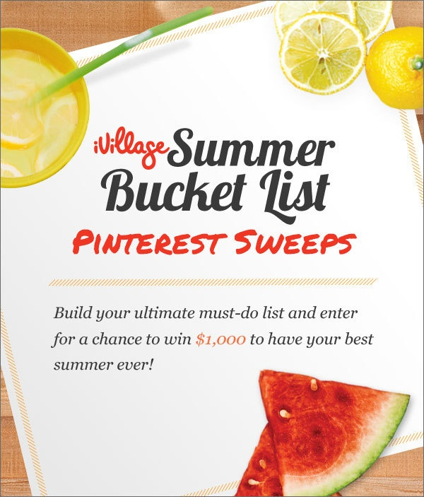 Click to enter for your chance to win $1000 and have the best summer ever! http://www.ivillage.com/summer-bucket-list-sweepstakes?cid=pin|sbl13|s