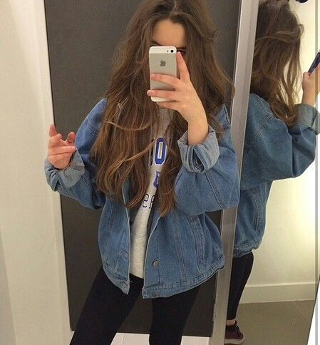 this jean jacket is super cute, i could probably find it at salvation army #schooloutfits