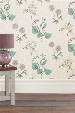 Teal Botanical Wallpaper