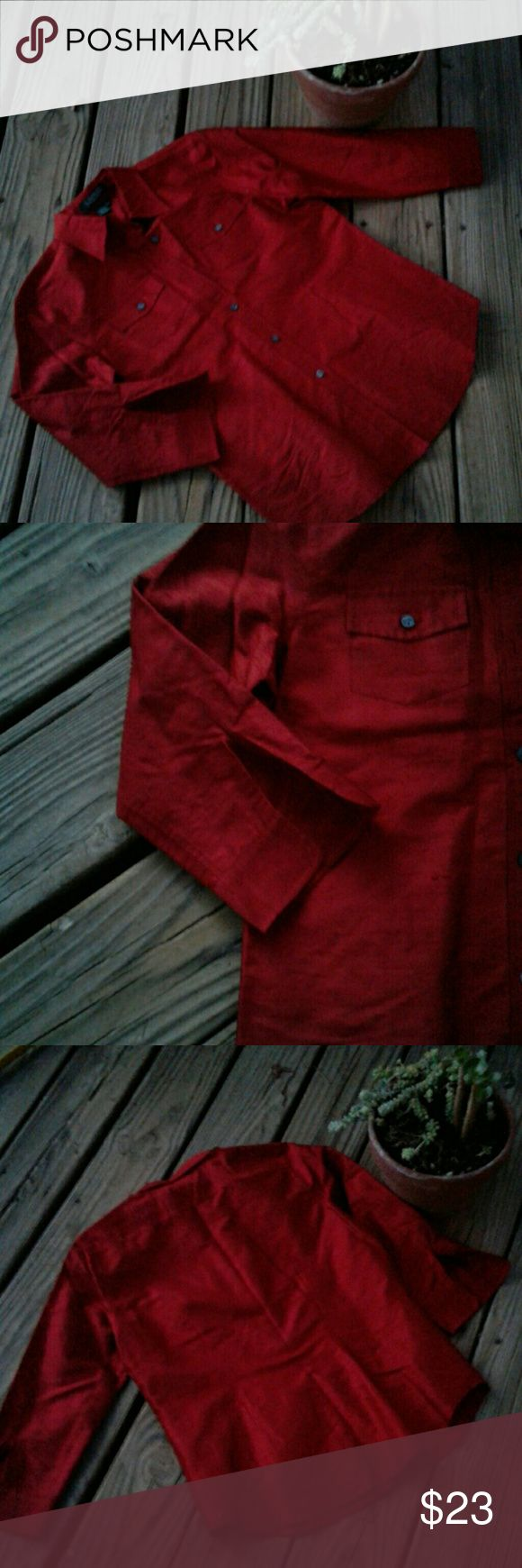 🎄Ralph Lauren Red Silk Shirt🎄 Red silk Ralph Lauren shirt.  Textured silk fabric with 3/4 sleeve that has a slight split and doesn't button.  Very beautiful! Ralph Lauren Tops Button Down Shirts