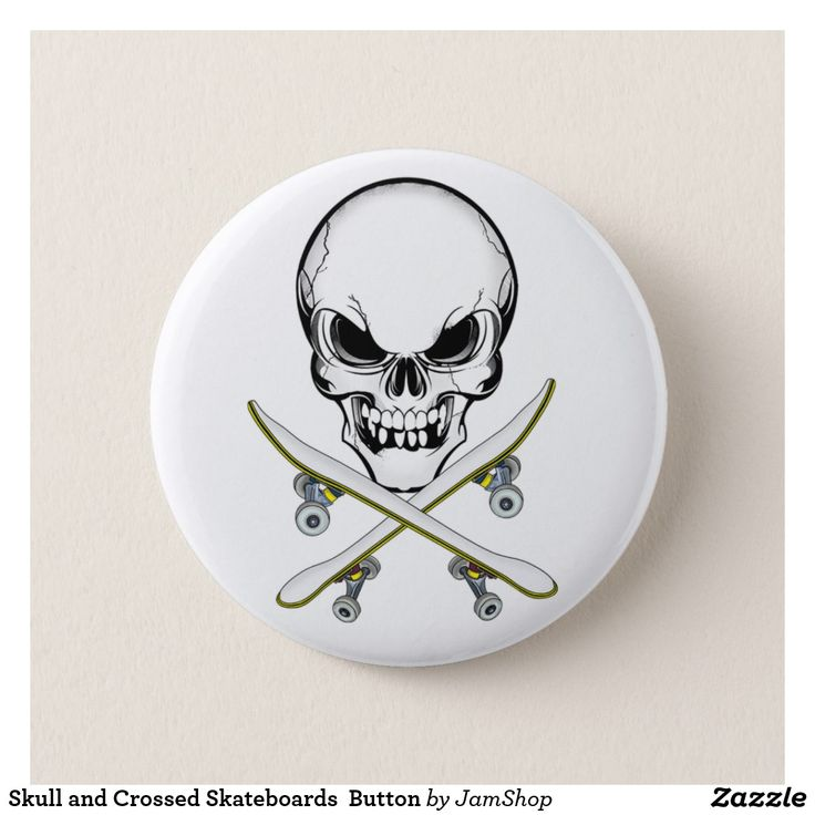 Skull and Crossed Skateboards  Button