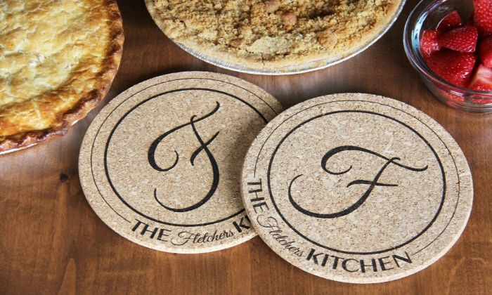 personalized kitchen hot pads american laser crafts groupon home sweet. Black Bedroom Furniture Sets. Home Design Ideas