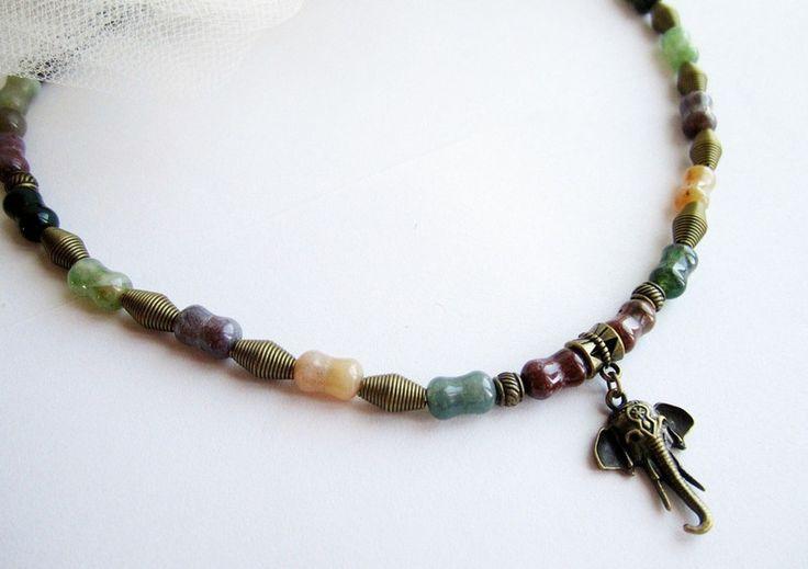 Collana+uomo+agata+pendente+elefante+di+BRAVE+men's+jewelry+su+DaWanda.com