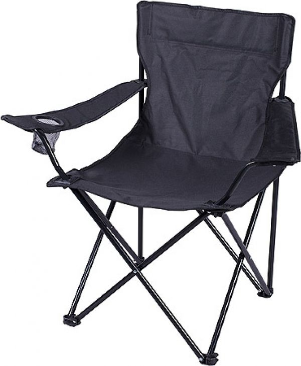 Camping Chair Camping Chair With Drink Holder and Carry Case colours:Black Material:600D Branding method:Silk Screening  (Default Method) , Heat Transfer